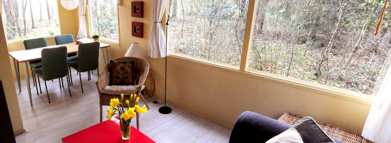 Woonkamer de Brummel, vakantiehuis bij Norg Drenthe
